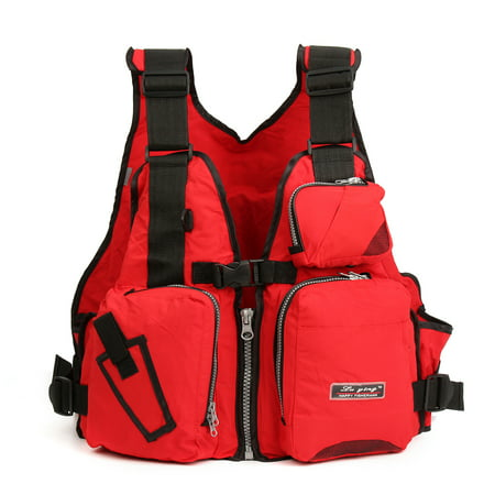 Adult U niversal Nylon EPE Breathable Fly Fishing Life J acket Kayak Safety Life Vest Outdoor Swimming Buoyancy Aid Sailing Canoeing Boating with Multi-Pockets and Reflective
