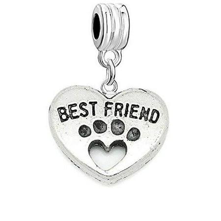 Best Friends Heart Charm Bead