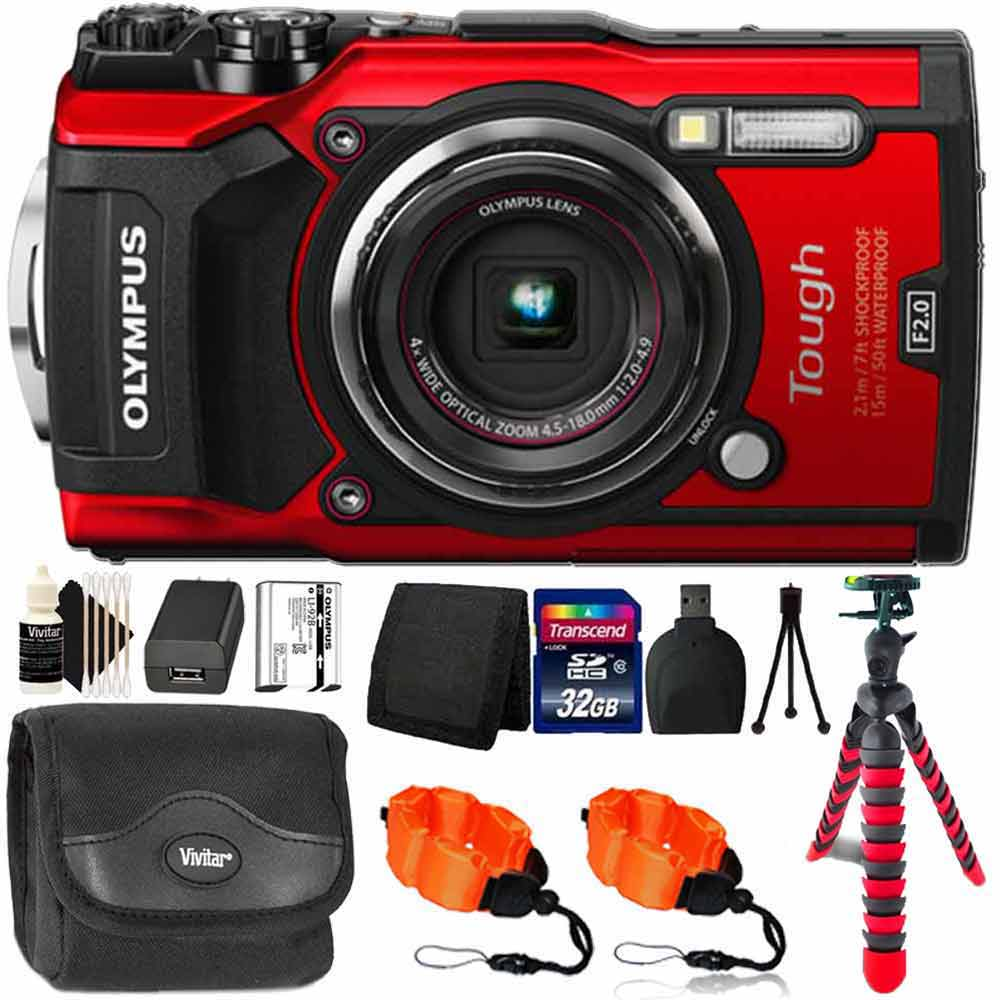 Olympus Tough TG-5 Waterproof Shockproof Digital Camera Red With 32GB Kit