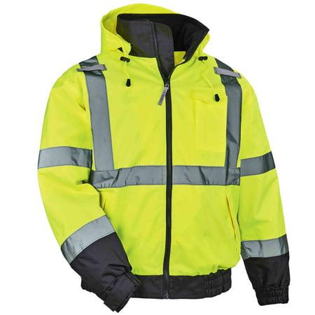 Ergodyne GloWear® 8379 Type R Class 3 Fleece Lined Bomber Jacket, Lime, XL