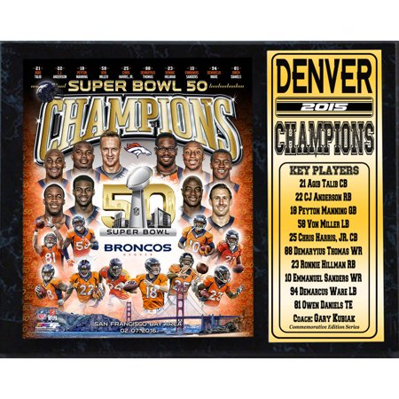 Denver Broncos Parking Sign - 12x15 Stat Plaque, Super Bowl 50 Champion Denver Broncos