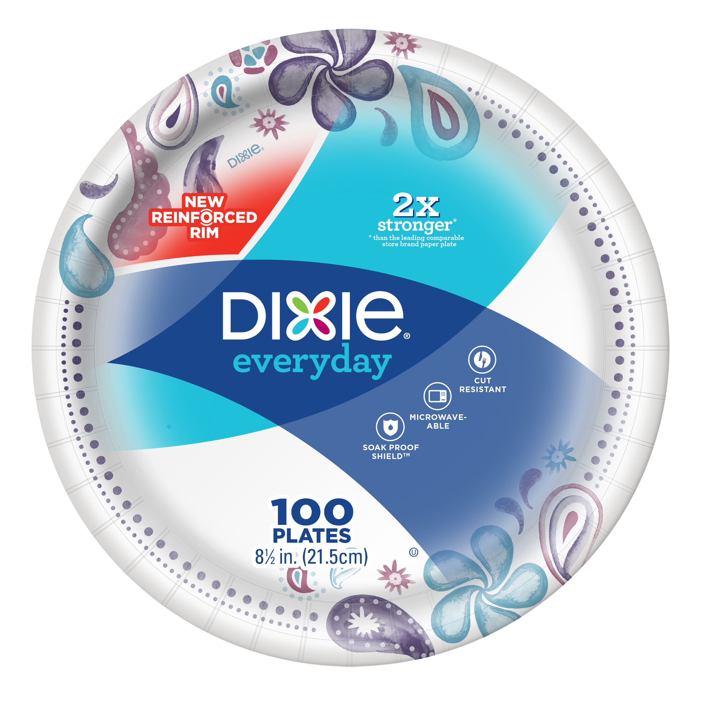 "Dixie Everyday Lunch/Light Dinner Paper Plates, 100ct, 8.5"" size"