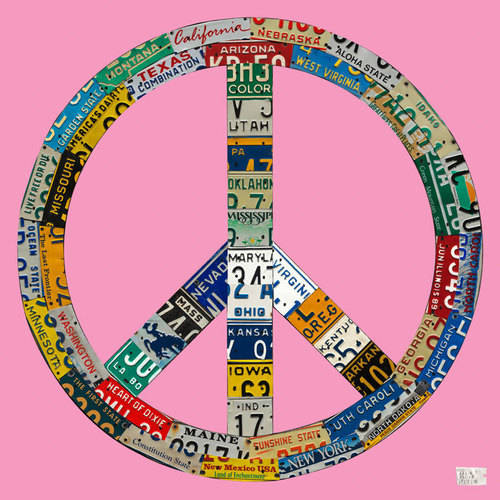 Oopsy Daisy - License Plate Peace - Pink Canvas Wall Art 21x21, Aaron Foster