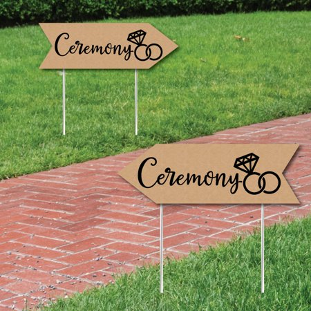 Rustic Wedding Ceremony Signs - Wedding Sign Arrow - Double Sided Directional Yard Signs - Set of 2 Ceremony Signs - Arrow Of Light Ceremony Ideas