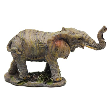 Posing Elephant Figurine: Smiling and Looking off to the - Smiling Elephant