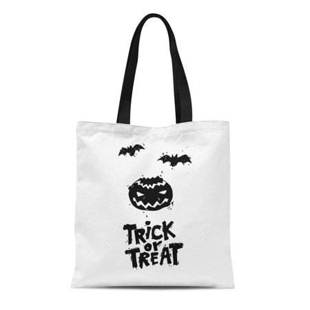 LADDKE Canvas Bag Resuable Tote Grocery Shopping Bags Happy Halloween Fly Er Pumpkin Black on White Lettering Party Flat Design Tote - Happy Halloween Pumpkin Design