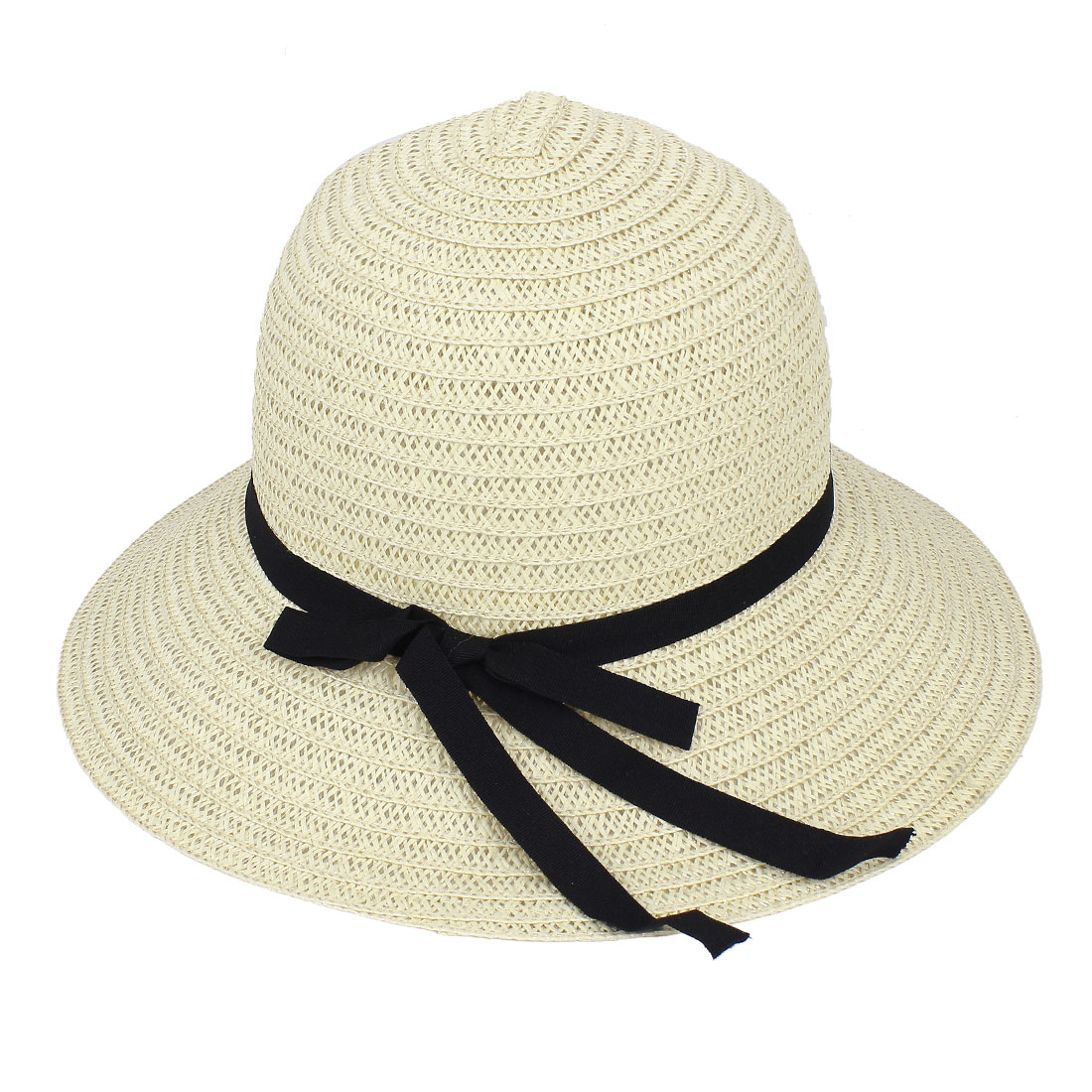 Ladies Straw Braided Sun Visor Bowtie Ornament Floppy Beach Hat Cap