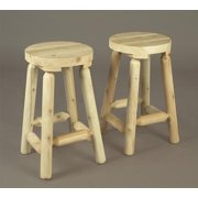 "Set of 2 Natural Cedar Log Style Indoor Backless Bar Stools 24"""