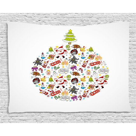 Kids Christmas Tapestry, Merry Xmas Wish and Circle of Happy Cute New Year Icons Under Pine Tree, Wall Hanging for Bedroom Living Room Dorm Decor, 60W X 40L Inches, Multicolor, by Ambesonne ()