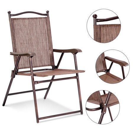 Gymax Set of 2 Folding Patio Furniture Sling Back Chairs Outdoors brown - image 2 de 8