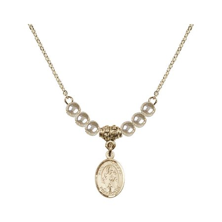 18-Inch Hamilton Gold Plated Necklace with 4mm Faux-Pearl Beads and Saint Nicholas Charm ()