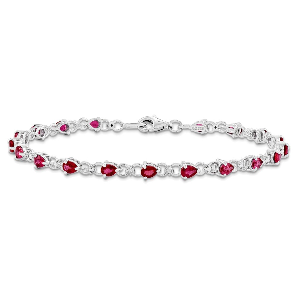 Sterling Silver Composite Ruby and Diamond Bracelet by
