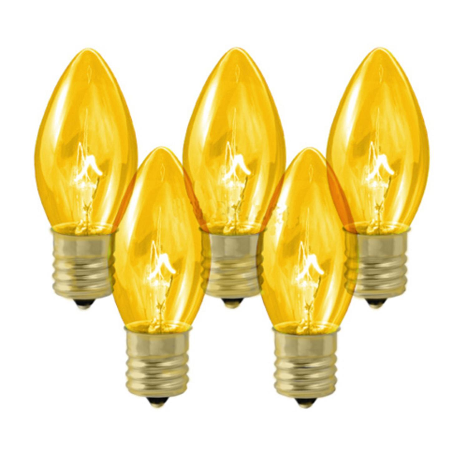 Club Pack of 100 C9 Transparent Gold Replacement Christmas Light Bulbs