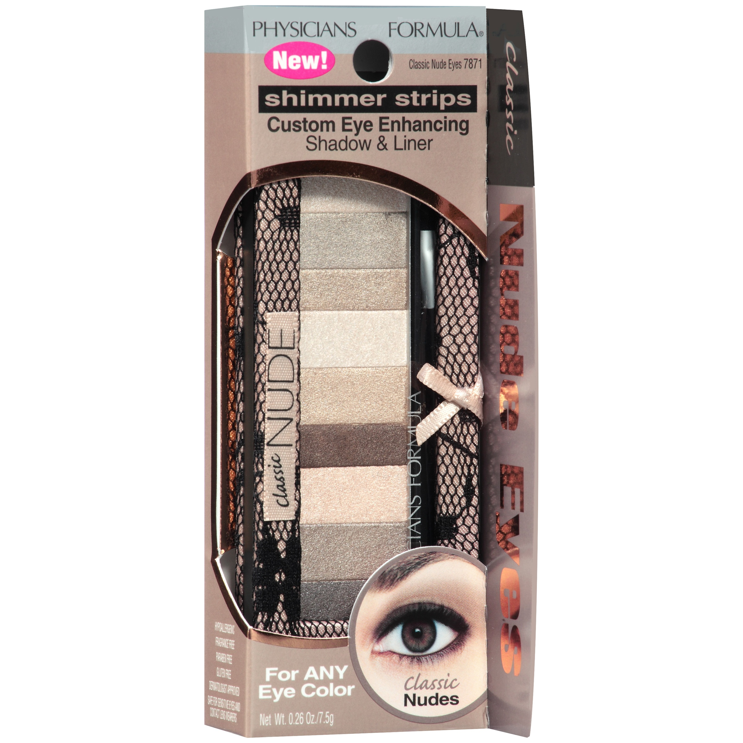 Physicians Formula Shimmer Strips Custom Eye-Enhancing Shadow & Liner, 7871 Classic Nude Eyes, 0.26 oz