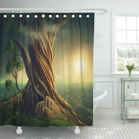 YUSDECOR Green Forest Big Fantasy Tree and The City Adventure Bathroom Decor Bath Shower Curtain 66x72 inch - image 1 of 1