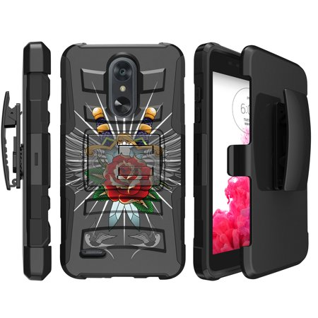 LG Aristo 2 Dual-Layer Impact Case w/ Silicone Layer[ Clip Armor Case for LG Aristo 2 / Tribute Dynasty / Fortune 2] Rugged Kickstand Case w/ Bonus Holster Belt-Clip - Daggers & Doves