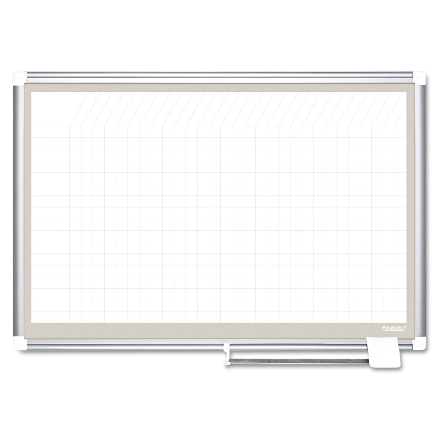 MasterVision All Purpose Porcelain Dry Erase Planning Board, 1x2 Grid, 36x24, Aluminum Frame by BI-SILQUE VISUAL COMMUNICATION PRODUCTS INC