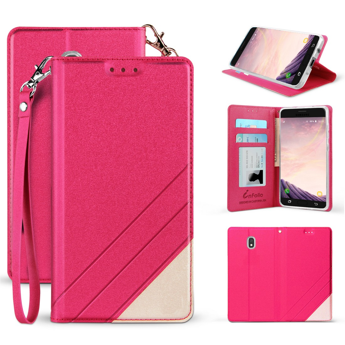 BC Synthetic PU Leather Magnetic Flip Cover Wallet Case and Atom Cloth for Samsung Galaxy J7 Star (T-Mobile) - Hot Pink