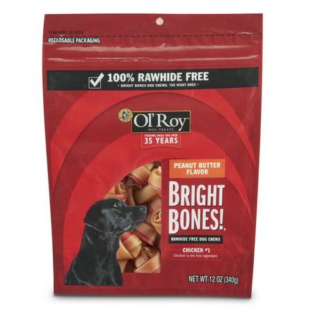 Ol' Roy Bright Bones Rawhide-Free Dog Chews, Peanut Butter Flavor, 12