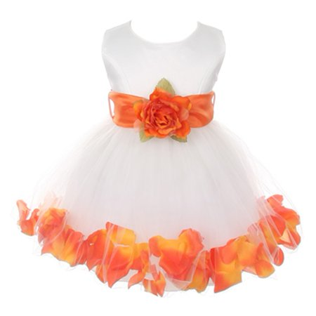 Baby Girls Ivory Orange Floral Petals Organza Sash Flower Girl Dress (Best Shoes To Wear With Maxi Dress)