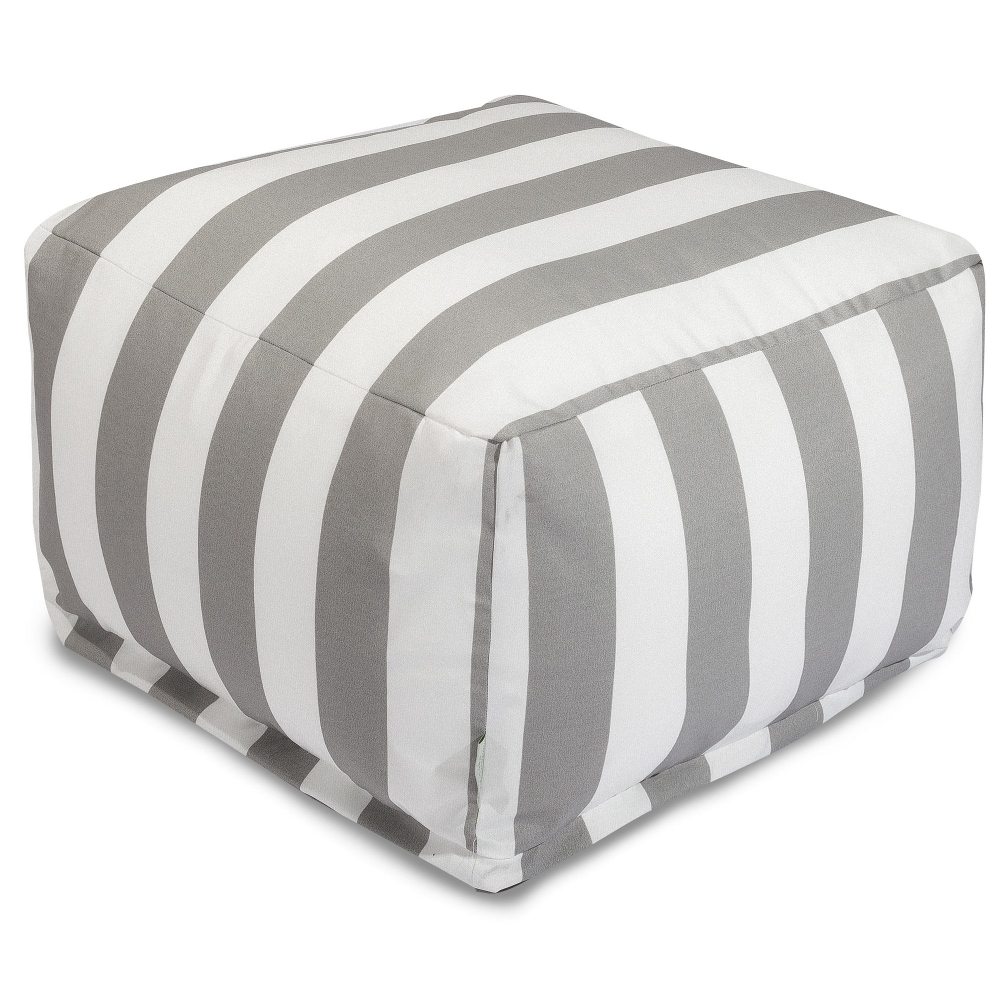 Majestic Home Goods Indoor Outdoor Treated Polyester Sage Vertical Stripe Ottoman Pouf