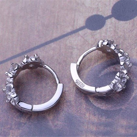 Women Girls Earrings Clip Plated 925 Silver Hypoallergenic Hinged Hoop Earrings Flower Rhinestone - image 4 of 7