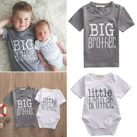 Hot Infant Baby Boys Romper Bodysuit Big Brother T-shirt Tops Outfits Family Set