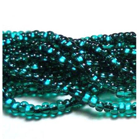 Emerald Silver Lined Czech 8/0 Glass Seed, Loose Beads, 12 Strand Hank Preciosa