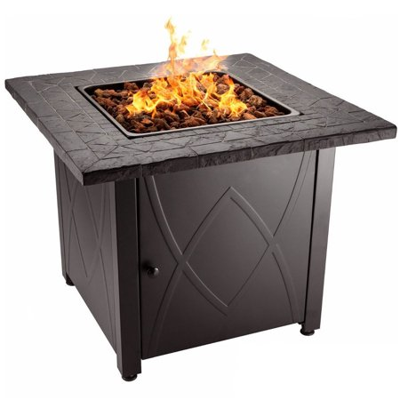 Round Rock Fire Pit - Blue Rhino Endless Summer Outdoor Propane Gas Lava Rock Patio Fire Pit, Brown