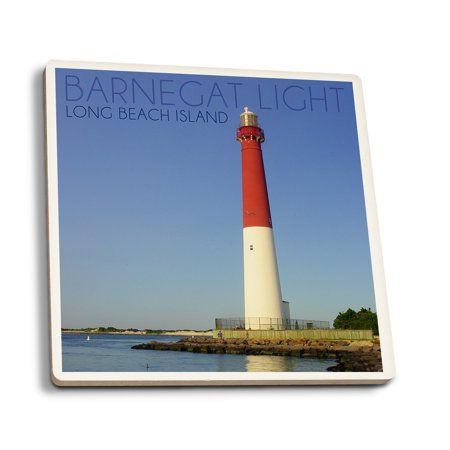 Light Up Coasters (Barnegat Light, New Jersey - Barnegat Lighthouse Close Up - Lantern Press Photography (Set of 4 Ceramic Coasters - Cork-backed,)
