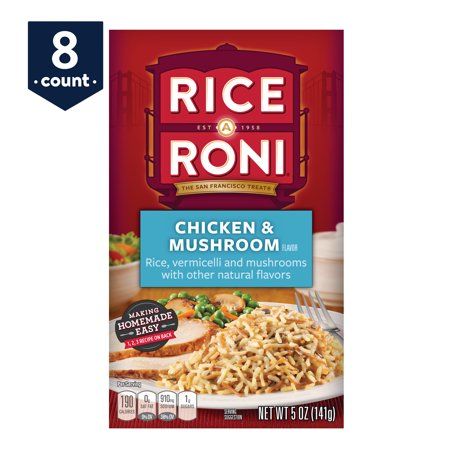 - (8 Pack) Rice-A-Roni Rice & Vermicelli Mix, Chicken & Mushroom, 5 oz Box
