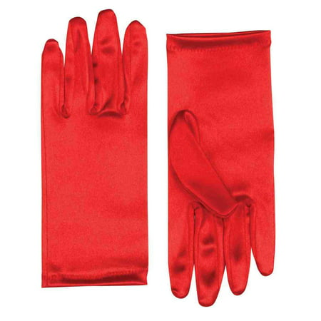 """9"""" Red Satin Adult Female Costume Gloves One Size - image 1 de 1"""