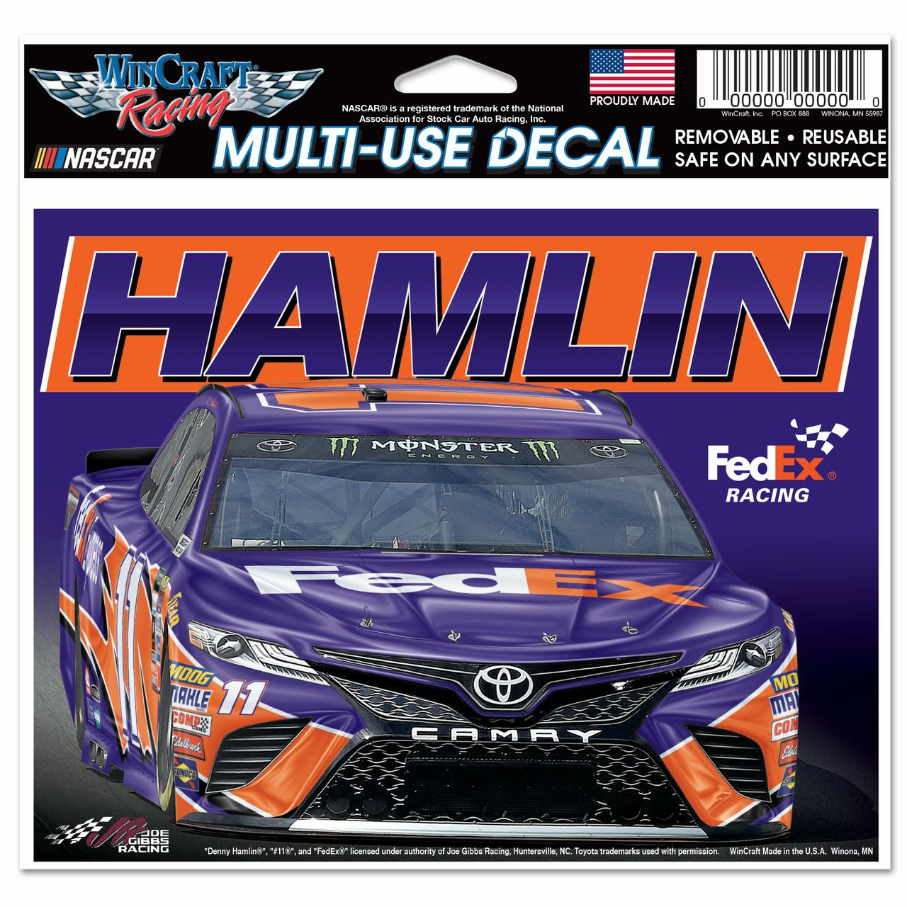"Denny Hamlin WinCraft 4.5"" x 6"" Car Multi-Use Decal - No Size"