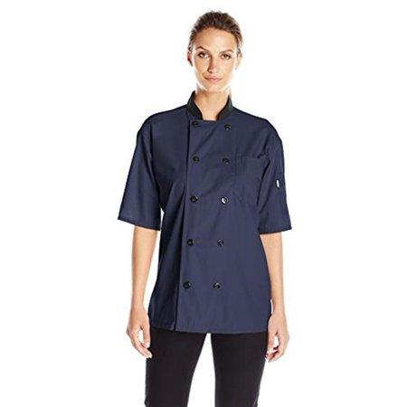 vtex 0494-1606 uncommon threads womens havana chef coat ss mesh black trim, navy - (Ladies Chef Coats)