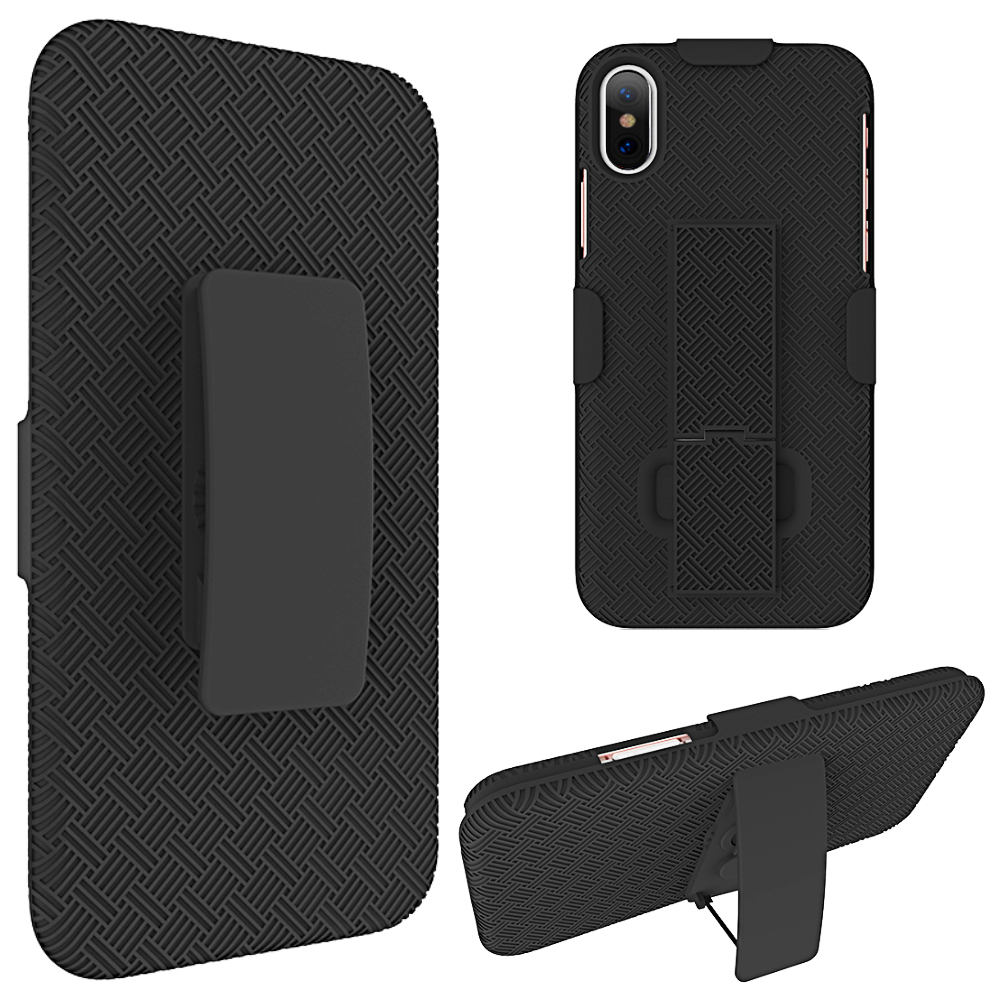 Phone Case for iPhone X Snap On Case Skew Pc With Holster Combo Black