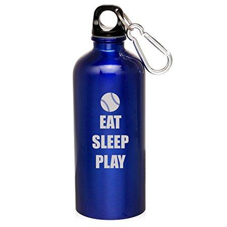 Bottle Edt - 20oz Aluminum Sports Water Bottle Caribiner Clip Eat Sleep Play Baseball Softball (Blue)