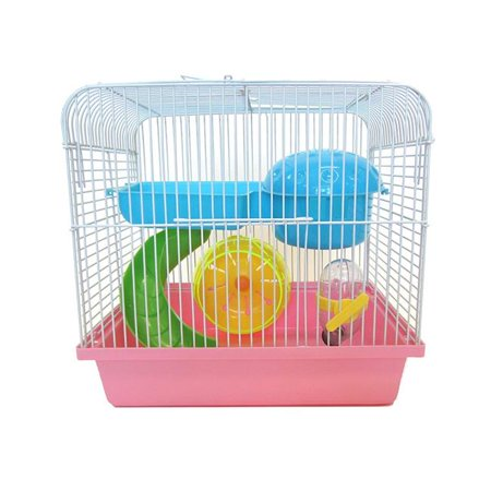 Dwarf Hamster, Mice Cage With Accessories, Pink