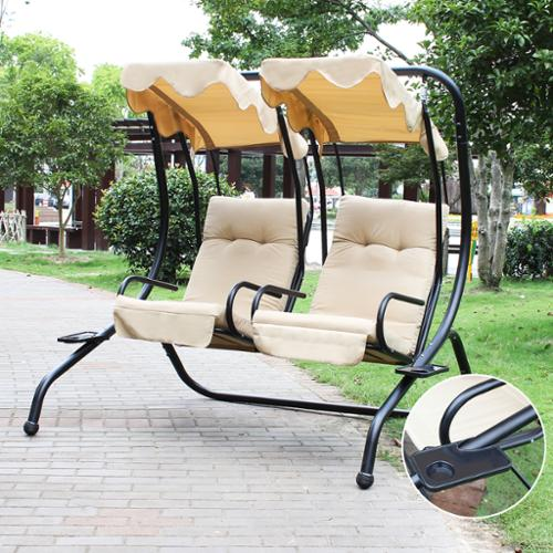 Adeco  2 Independent Chairs Canopy Awning Porch Swings Bench