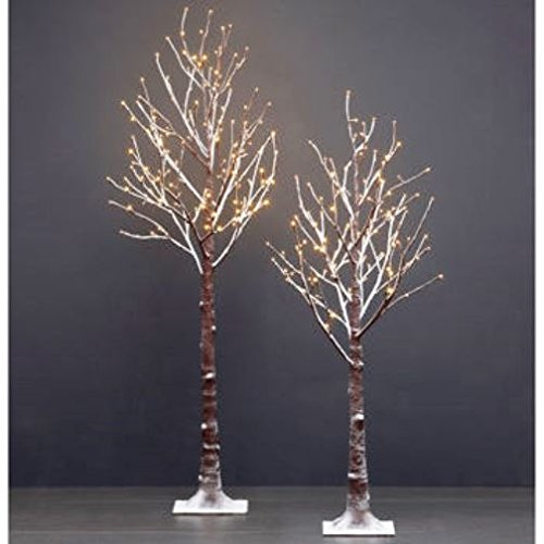 2pk LED Flocked Twig Trees 5.5 ft Tree with 168 LED Lights, 4.5 ft Tree with 128 LED Lights For Indoor & Outdoor Use by