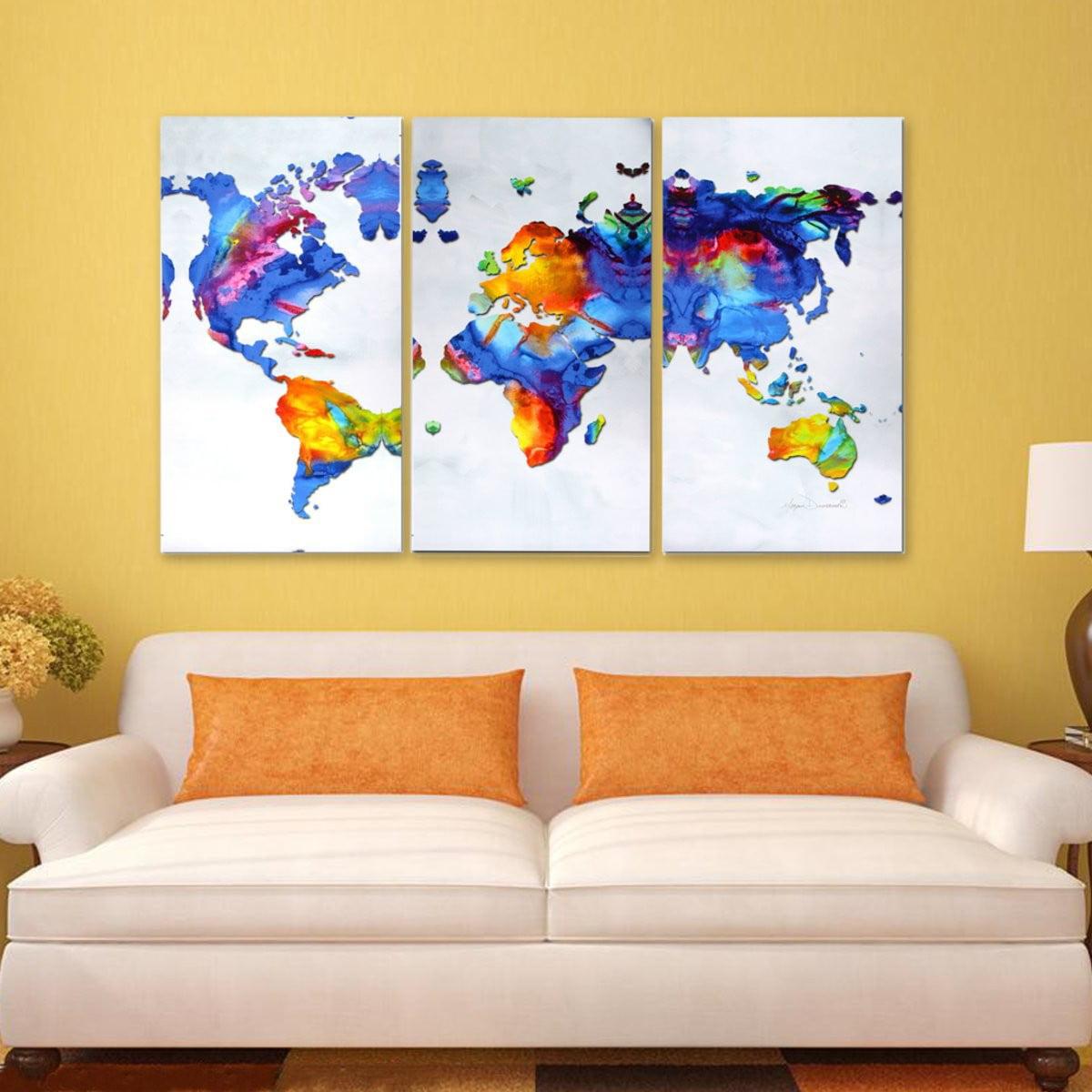 3 Piece Unframed World Map Modern HD Canvas Wall Art Print Pictures ...