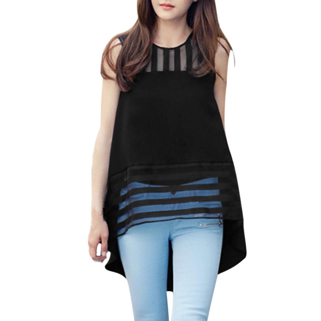 Women's NEW Fashion Organza Panel Stripes Design Tank Top (Size M / 8)