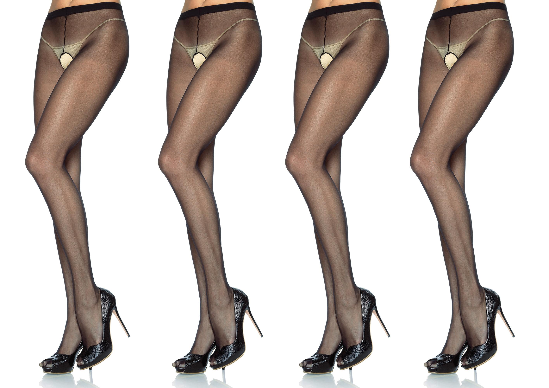 1b8cb02264f Leg Avenue Women s Sheer Nylon Crotchless Pantyhose (Black One Size ...