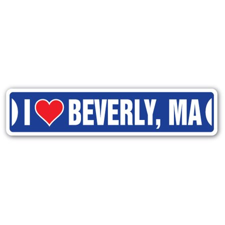 I LOVE BEVERLY, MASSACHUSETTS Street Sign ma city state us wall road décor gift](Party City Ma)
