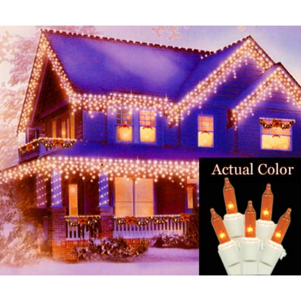Amber Icicle Christmas Lights