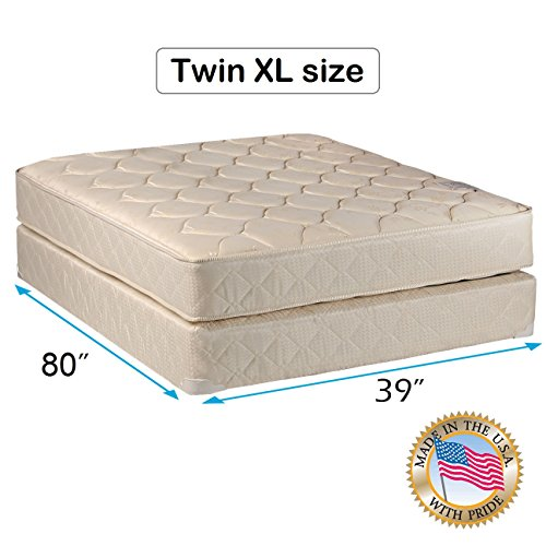 """Comfort Classic Gentle Firm Twin XL (39""""x80""""x9"""") Mattress and Box Spring Set - Fully Assembled, Orthopedic, Good for your back, Superior Quality - Long Lasting and 2 Sided - By Dream Solutions USA"""