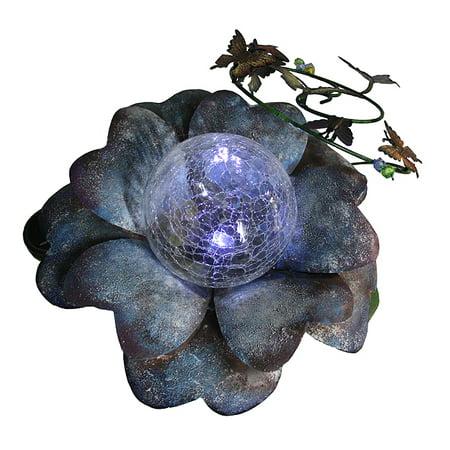 "Image of ""15"""" Blue LED Lighted Solar Powered Flower Garden Lawn Stake"""
