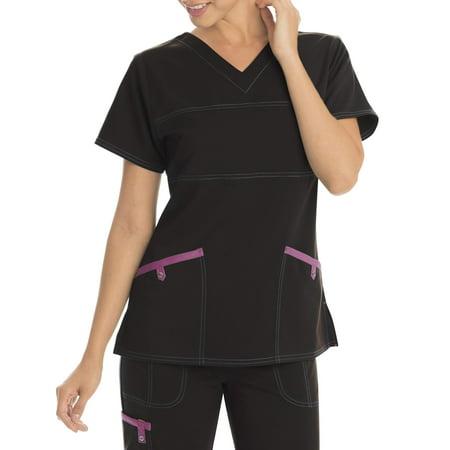 Scrubstar Women's Stretch Twill Color Accent V-Neck Scrub Top