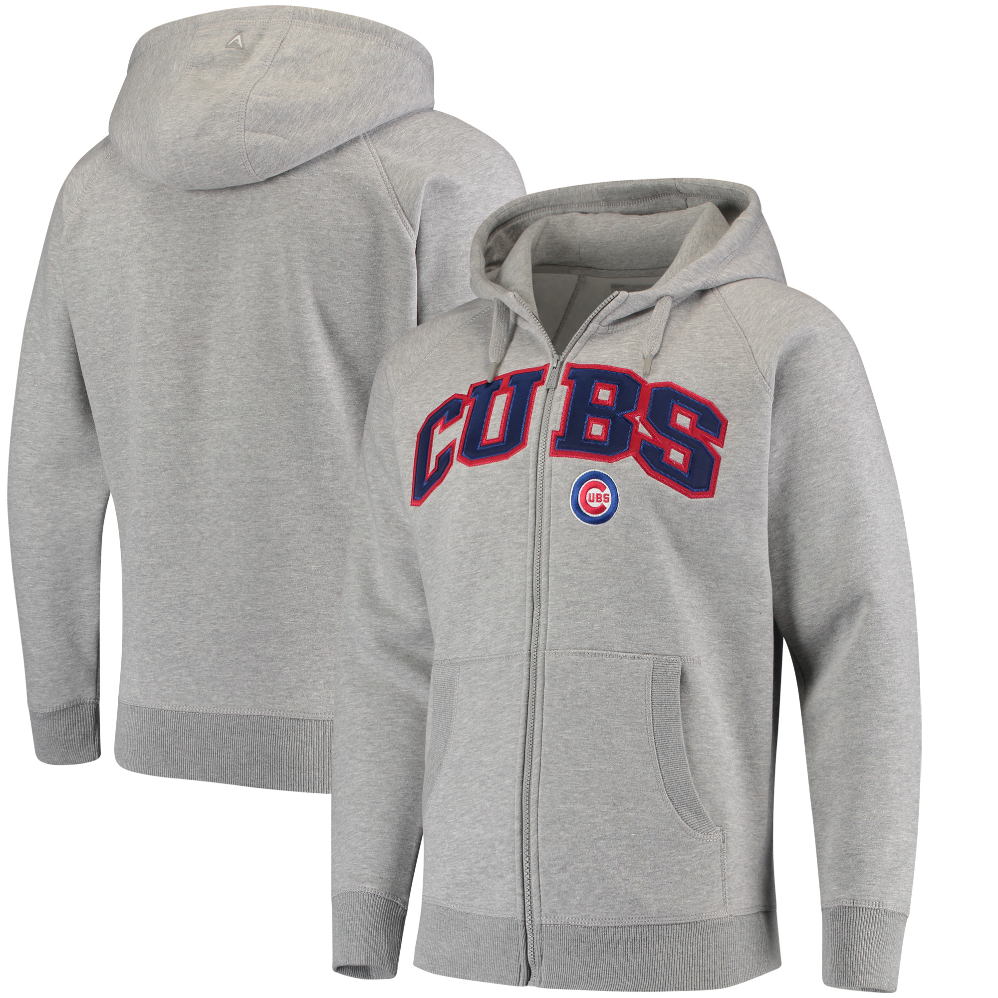 Chicago Cubs Antigua Team Victory Full-Zip Hoodie - Heathered Gray