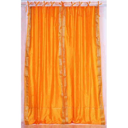 Pumpkin  Tie Top  Sheer Sari Curtain / Drape / Panel  - Piece