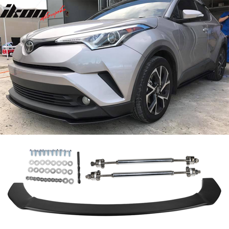 Fits 17-18 Toyota CHR Front Bumper Splitter With Rods & Hardware Matte  Black PP